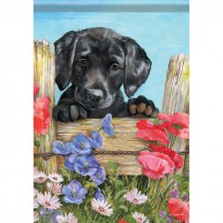 Black Lab Puppy Flag